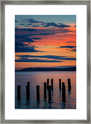 Puget Sound Sunset Framed Print
