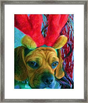 Framed Print featuring the photograph Puggle Holiday by Susan Carella