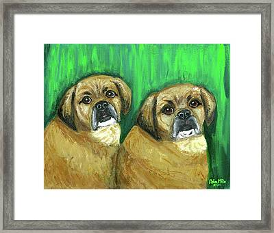 Puggles Bruno And Louie Framed Print