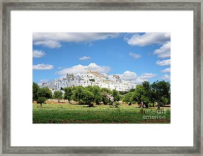 Puglia White City Ostuni With Olive Trees Framed Print
