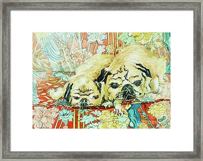 Pugs On A Chinese Print Sofa Framed Print