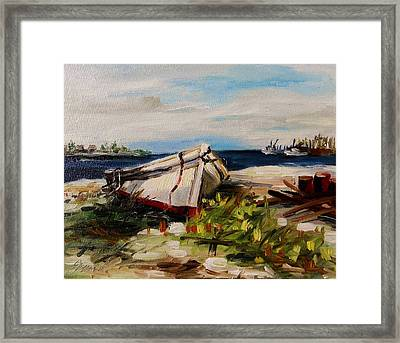 Framed Print featuring the painting Pulled Up On Shore by John Williams
