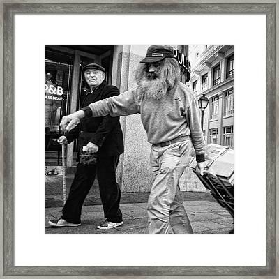 Pulling Santa  #santaclaus #man Framed Print