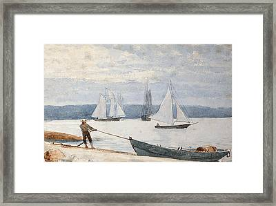 Pulling The Dory Framed Print by Winslow Homer