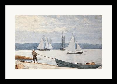 Docked Boats Drawings Framed Prints
