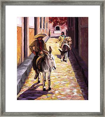 Pulling Up The Rear In Mexico Framed Print by Nancy Griswold