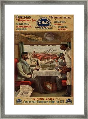Pullman Compartment Cars Dining Cars Vintage Train Poster Framed Print by Design Turnpike