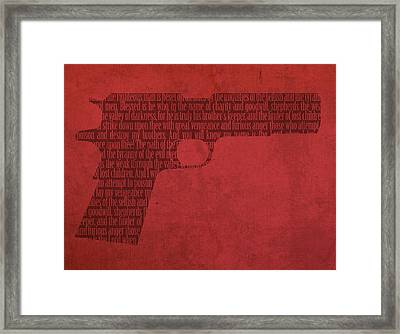 Pulp Fiction Quote Typography In Gun Silhouette Framed Print by Design Turnpike