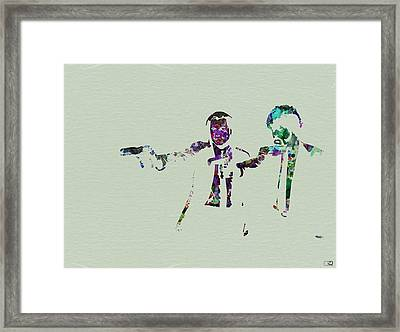 Pulp Fiction Watercolor Framed Print by Naxart Studio