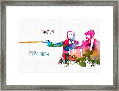 Pulp Fiction Watercolor Paint Splatter Framed Print by Dan Sproul