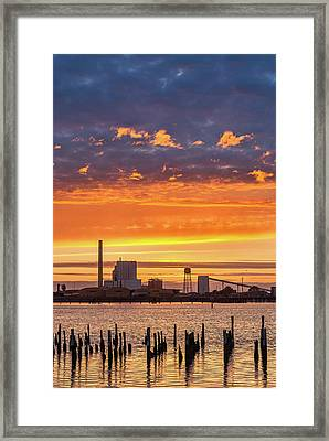 Framed Print featuring the photograph Pulp Mill Sunset by Greg Nyquist