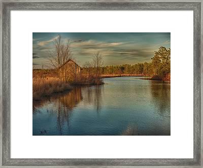 Pump House On The Mullica River Framed Print by Louis Dallara