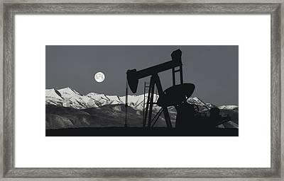 Pump Jack Moonlight B W Framed Print by Daniel Hagerman