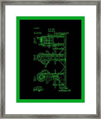 Pump Motor Patent Drawing 1a Framed Print