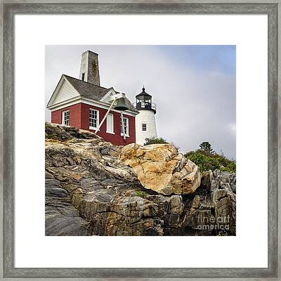 Pumphouse And Tower, Pemaquid Light, Bristol, Maine  -18958 Framed Print