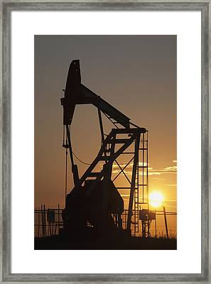Pumpjack Silhouette Framed Print by Michael Interisano