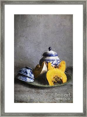 Pumpkin And Blue And White China Framed Print by Elena Nosyreva