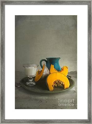 Pumpkin And Blue Jar Framed Print by Elena Nosyreva