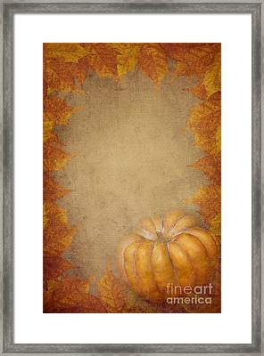 Pumpkin And Maple Leaves Framed Print by Jelena Jovanovic