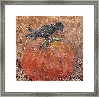 Pumpkin Crow Framed Print