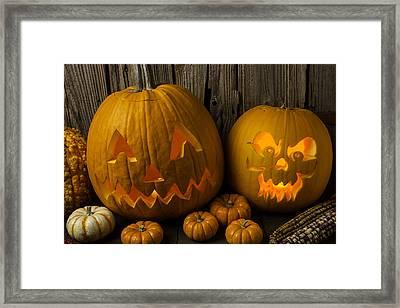 Pumpkin Friends Framed Print