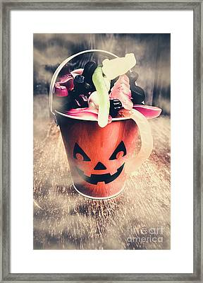 Pumpkin Head In A Misty Halloween Scene Framed Print by Jorgo Photography - Wall Art Gallery