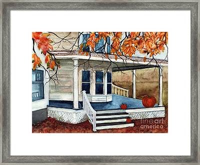 Pumpkin Porch - Halloween House Framed Print by Janine Riley