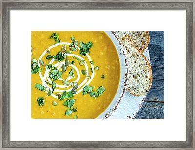 Pumpkin Soup For Dinner Framed Print