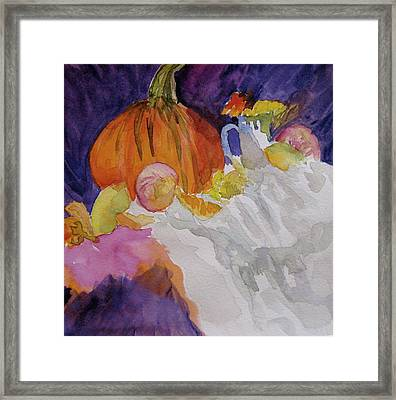 Framed Print featuring the painting Pumpkin Still Life by Beverley Harper Tinsley