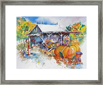Framed Print featuring the painting Pumpkin Time by Mary Haley-Rocks
