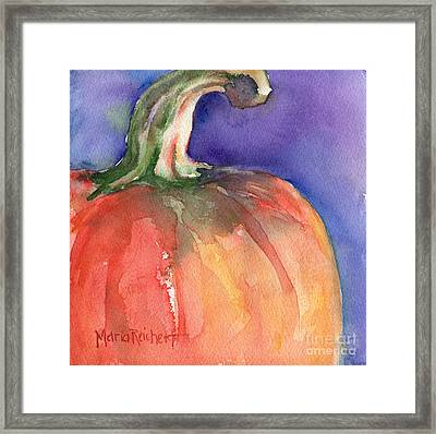 Pumpkin Watercolor Painting Framed Print by Maria's Watercolor