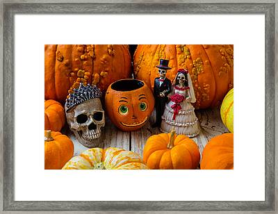 Pumpkins And Bride And Groom Framed Print by Garry Gay