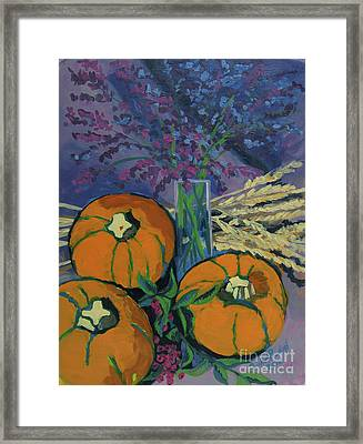 Framed Print featuring the painting Pumpkins And Wheat by Erin Fickert-Rowland