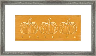 Pumpkins- Art By Linda Woods Framed Print by Linda Woods