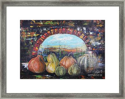 Pumpkins For Halloween Framed Print by Irina Gromovaja