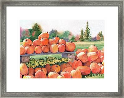 Pumpkins For Sale Framed Print by Vikki Bouffard