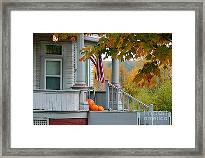 Pumpkins On A Vermont Porch Framed Print by Catherine Sherman