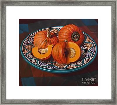 Pumpkins On Moroccan Platter Framed Print by Fiona Craig