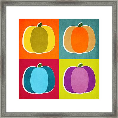 Pumpkins- Pop Art By Linda Woods Framed Print by Linda Woods