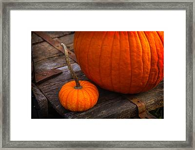 Pumpkins Sitting On Wooden Wagon Framed Print by Garry Gay