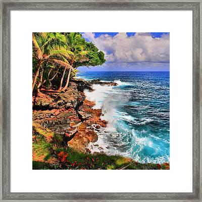 Framed Print featuring the photograph Puna Coast Hawaii by DJ Florek