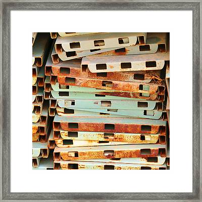 Punched And Stacked Framed Print by Art Block Collections