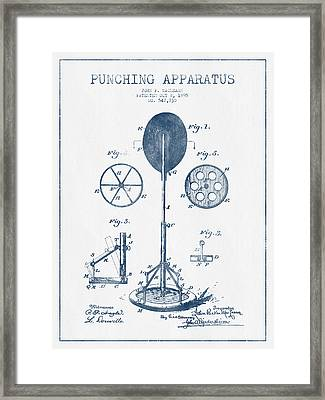 Punching Apparatus Patent Drawing From 1895 -  Blue Ink Framed Print
