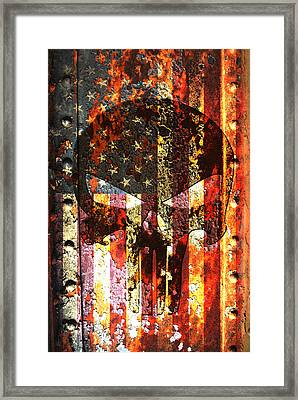 Punisher Skull On Rusted American Flag Framed Print by Fred Bertheas