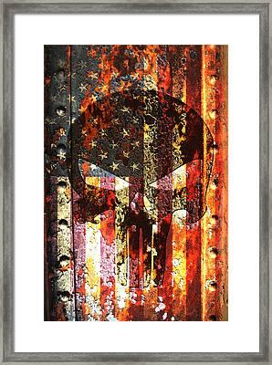 Punisher Skull On Rusted American Flag Framed Print