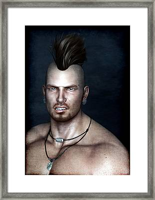 Punk Portrait Framed Print by Maynard Ellis