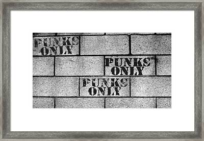 Punks Only Brick Wall Sign Framed Print by Jera Sky