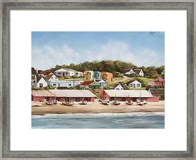 Framed Print featuring the painting Punta Del Diablo 2 by Natalia Tejera