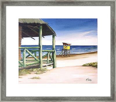 Framed Print featuring the painting Punta Del Diablo S Morning by Natalia Tejera