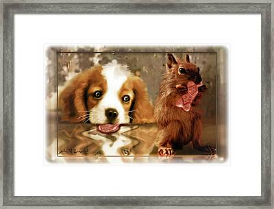 Pup And Squirrel Framed Print by John Breen